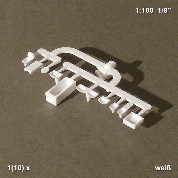 Bad Set, 1:100, weiß, 10-teilig Schulcz 54.70101.2, Waschbecken, Toilette,  Badewanne