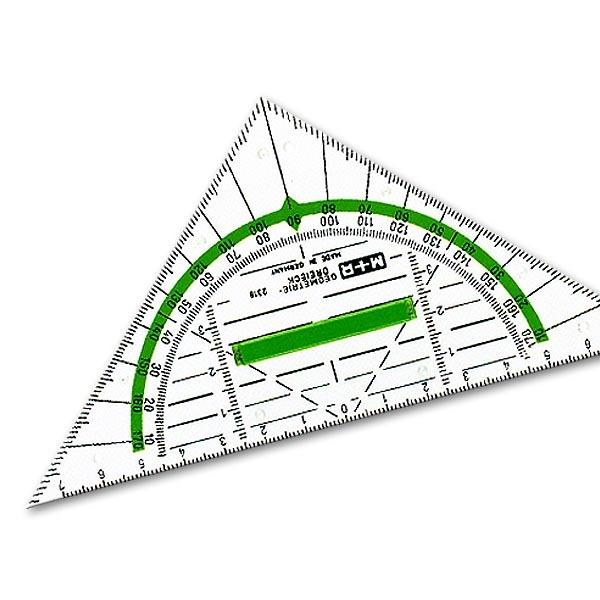 Geometriedreieck 16 cm mit Griff Möbius + Ruppert 2316, glasklar