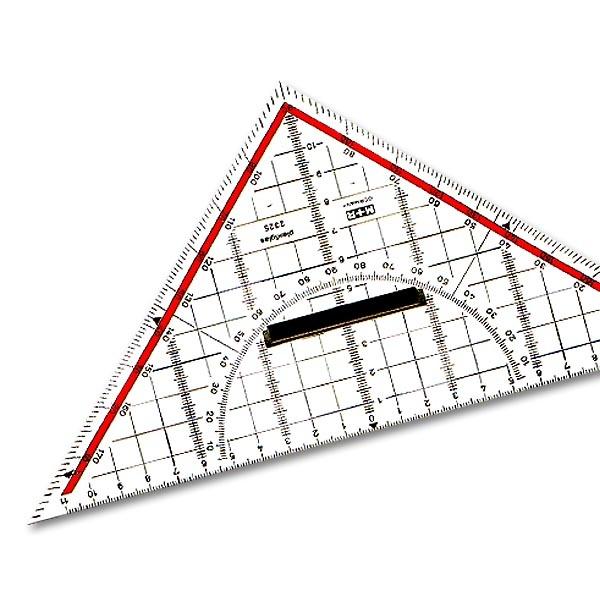 Zeichendreieck 25 cm, mit Griff Möbius + Ruppert 2325-0100, aus  hochwertigem Acrylglas