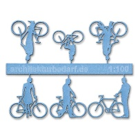 Bicycles with Cyclists, 1:100, lightblue