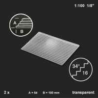 Treppenplatte 34°, transparent, 1:100