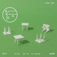 10 Tische, weiß, 4 Beine