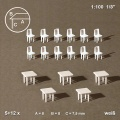 Tables, square, and Chairs, white, 1:100