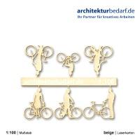 Fahrräder mit Figur, 1:100, beige