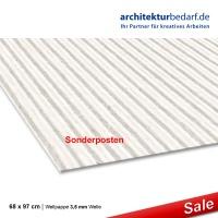Wellpappe 68 x 97 cm - weiß, Welle 3,5 mm
