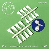 Wendeltreppenstufen 1:50 weiß, 16 Stück