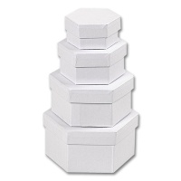Boxes, white Cardboard, hexagonal