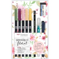 Watercoloring Set floral mit Wassertankpinsel