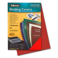 Fellowes Cover Sheets Leather Structure, red