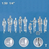 3D Figures 1:50 standing, transparent