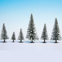 Fir with Snow and Base, 5 - 14 cm, 10 pcs.