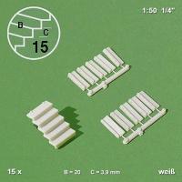 Einzel-Treppenstufen 1:50 weiß, 15 Stück