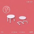 2 Round Tables 1:25, white, Ø=44 mm