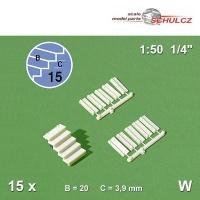 15 Einzel-Treppenstufen 1:50 weiß