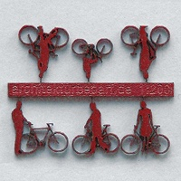 Bicycles with Cyclists, 1:200, darkred