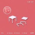 Square Table 1:25, white, 2 pcs.
