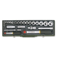Automotive Socket Set with 1/4 and 1/2 Ratchets