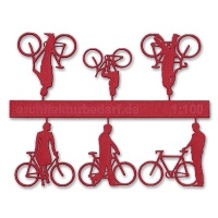 Bicycles with Cyclists, 1:100, red