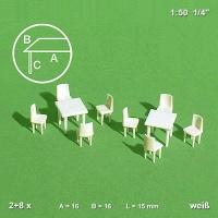 Modell Tische und Stühle, 1:50 weiß