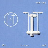 Single and double Street Lights, white, 1:500