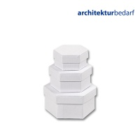 Schachteln aus weißem Karton, sechseckig