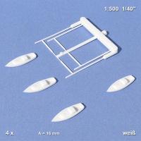 Segelboote weiß mit Mast, 16 mm, 1:500