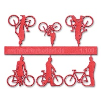 Bicycles with Cyclists, 1:100, lightred