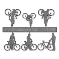 Bicycles with Cyclists, 1:100, grey