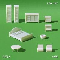 Möbel 1:50 für Schlafzimmer, weiß