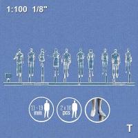 3D Figures 1:100 standing, transparent