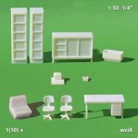 Möbel 1:50 für Arbeitszimmer, weiß