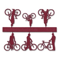 Bicycles with Cyclists, 1:100, darkred
