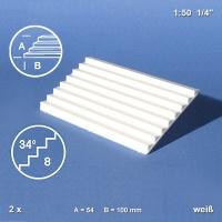 Treppenplatte 34°, weiß, 1:50