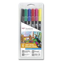 Dual Brush Pen, 6 pcs. Set Primary Colors