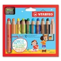 Stabilo Woody Pack of 10 with Sharpener
