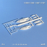 Sailing Boat, different sizes, 15-48 mm white