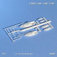 Segelboote weiß, diverse Größen, 15-48 mm Länge