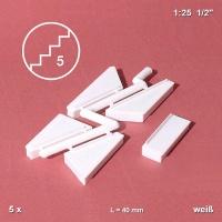 5 Eckstufen 40 mm, weiß, nach links