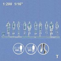 3D Figures 1:200 standing, transparent