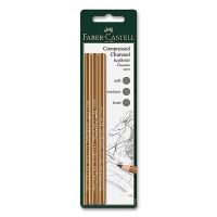Charcoal Pencil PITT, 3 pcs., hard, medium, soft