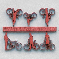 Bicycles with Cyclists, 1:200, lightred