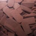 Plain Tile Round Cut, dark red