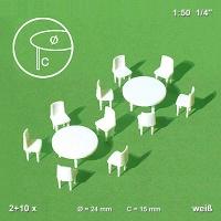 Runde Modell Tische und Stühle, 1:50 weiß