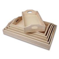Wooden Trays, six pieces