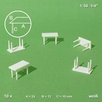 Tische mit 4 Beinen, weiß, 10 Stück