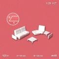 Sofa 1:25, white, with pedestal