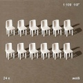 Chairs, 1:100, white, 24 pcs.