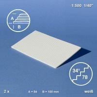 Treppenplatte 34°, weiß, 1:500