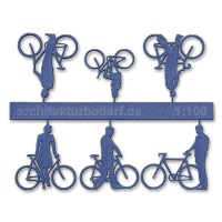 Bicycles with Cyclists 1:100, blue