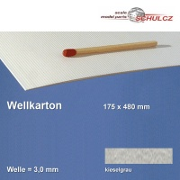 Wellkarton, kieselgrau 3 mm Welle